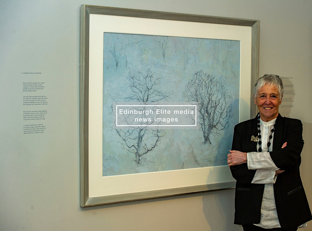 Pictured: Victoria Crowe OBE in front of Garden Full of Snow<br /> <br /> Another Time, Another Place at The Scottish Gallery - an exhibition of works by renowned artist Victoria Crowe OBE which have inspired 12 poems by poet Christine De Luca<br /> <br /> Ger Harley | EEm 29 April 2021