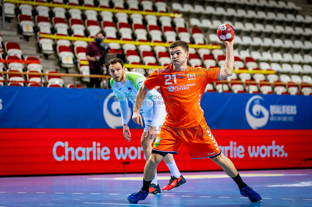 The Dutch handball player Kay Smits in action against Slovenia during the European Championship qualifying match on January 6, 2020 in Topsportcentrum Almere