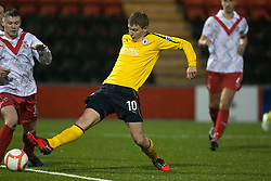 Falkirk's Jay Fulton scoring their first goal..half time : Airdrie United 1 v 4 Falkirk, 22/12/2012..©Michael Schofield.