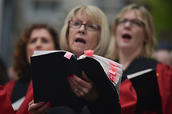 April 13, 2018 - Dublin, Ireland - The 276th anniversary of the world premiere of Handel's Messiah in Dublin's Temple Bar commemorated with a performance by Our Lady's Choral Society and The Dublin Handelian Orchestra..On Friday, April 13, 2018, in Fishamble Street, Dublin, Ireland. (Credit Image: © Artur Widak/NurPhoto via ZUMA Press)