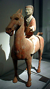 Horse and rider. Eastern Han dynasty (25-220 AD) terracotta figurine from Shaanxi (province), China