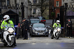 © Licensed to London News Pictures. 23/03/2017. London, UK. British Prime Minister THERESA MAY is driven from Downing Street, the day after a lone terrorist killed 4 people and injured several more, in an attack using a car and a knife. The attacker managed to gain entry to the grounds of the Houses of Parliament, killing one police officer. Photo credit: Ben Cawthra/LNP