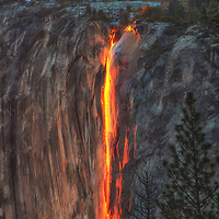 Sunset light on Horsetail Falls in February during a drought, Yosemite National Park, California.