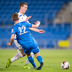 BRISBANE, AUSTRALIA - SEPTEMBER 20: Marcus Schroen of South Melbourne is tackled by Jaiden Walker of Gold Coast City during the Westfield FFA Cup Quarter Final match between Gold Coast City and South Melbourne on September 20, 2017 in Brisbane, Australia. (Photo by Gold Coast City FC / Patrick Kearney)