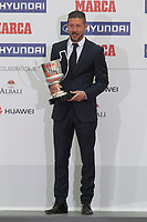 Atletico de Madrid´s coach Diego Pablo Simeone receives the Best Coach Award during MARCA Football Awards ceremony in Madrid, Spain. November 10, 2014. (ALTERPHOTOS/Victor Blanco)