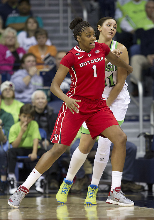 January 13, 2013:  Rutgers forward Rachel Hollivay (1) and Notre Dame forward Natalie Achonwa (11) battle for position during NCAA Basketball game action between the Notre Dame Fighting Irish and the Rutgers Scarlett Knights at Purcell Pavilion at the Joyce Center in South Bend, Indiana.  Notre Dame defeated Rutgers 71-46.