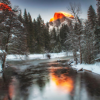 Last light on Half Dome in winter, Yosemite National Park, California.