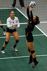 28 October 2016:  Keegan Kollias during an NCAA womens division 3 Volleyball match between the DePauw Tigers and the Illinois Wesleyan Titans in Shirk Center, Bloomington IL