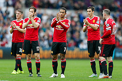 Memphis Depay of Manchester United looks dejected as the players thank the away fans after Swansea City win the match 2-1 - Mandatory byline: Rogan Thomson/JMP - 07966 386802 - 30/08/2015 - FOOTBALL - Liberty Stadium - Swansea, Wales - Swansea City v Manchester United - Barclays Premier League.