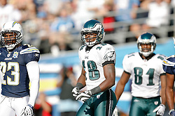 Philadelphia Eagles wide receiver Jeremy Maclin #18 during the NFL game between the Philadelphia Eagles and the San Diego Chargers on November 15th 2009. At Qualcomm Stadium in San Diego, California. (Photo By Brian Garfinkel)
