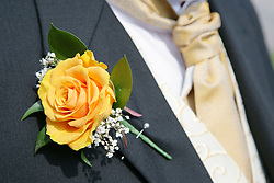 Button hole on the lapel of a bridegroom,