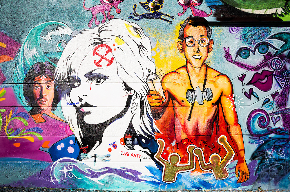 Pop artist Keith Haring, actor Sylvester Stallone and a Brigitte Bardot look-alike dominate this mural in Miami's Wynwood district.