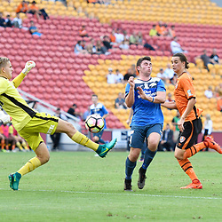 BRISBANE, AUSTRALIA - MARCH 25: Thomas Fanning of SWQ Thunder scores a goal during the round 5 NPL Queensland match between the Brisbane Roar and SWQ Thunder at Suncorp Stadium on March 25, 2017 in Brisbane, Australia. (Photo by Patrick Kearney/Brisbane Roar)