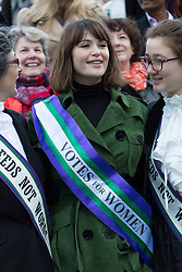 """© Licensed to London News Pictures. 08/03/2015. London, UK. Gemma Arterton at the """"Walk In Her Shoes"""" event to mark International Women's Day at The Scoop amphitheatre on the south bank in London. Photo credit : Vickie Flores/LNP"""