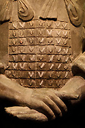 """Detail of a amror of one of the soldiers of the """"Terracotta Army"""" in Xian, Shaanxi, China"""