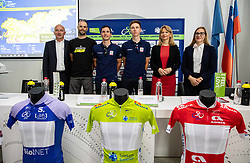 Bogdan Fink, Luka Mezgec, Jan Polanc, Tadej Pogacar, Maja Pak and Nina Kosin during press conference of cycling race Tour od Slovenia 2019 1 day before the competition, on June 18, 2019 in Ljubljana's castle, Ljubljana, Slovenia. Photo by Vid Ponikvar / Sportida