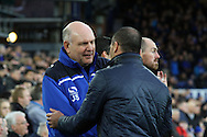 Dagenham & Redbridge Manager John Still (l) and Everton Manager Roberto Martinez chat prior to kick off. The Emirates FA cup, 3rd round match, Everton v Dagenham & Redbridge at Goodison Park in Liverpool on Saturday 9th January 2016.<br /> pic by Chris Stading, Andrew Orchard sports photography.