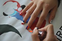 June 11, 2018 - Liaochen, Liaochen, China - Liaocheng, CHINA-11th June 2018: The World Cup themed nail polishing can be seen in Liaocheng, east China's Shandong Province, marking the upcoming World Cup Russia 2018. (Credit Image: © SIPA Asia via ZUMA Wire)