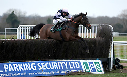 Brandon Hill ridden by Noel George competes in the Overbury Stud Willoughby De Broke Open Hunters' Chase during Midlands Raceday at Warwick Racecourse.