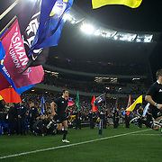 All Blacks Captain Richie McCaw leads the All Blacks onto the field during the New Zealand V Australia Tri-Nations, Bledisloe Cup match at Eden Park, Auckland. New Zealand. 6th August 2011. Photo Tim Clayton