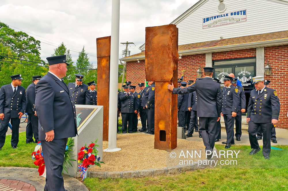 North Bellmore Fire Department 9/11 remembrance ceremony and unveiling of two pieces of steel from the World Trade Center added to the existing 9/11 monument, 1500 Newbridge Road, North Bellmore, New York, USA, on September 10, 2011.