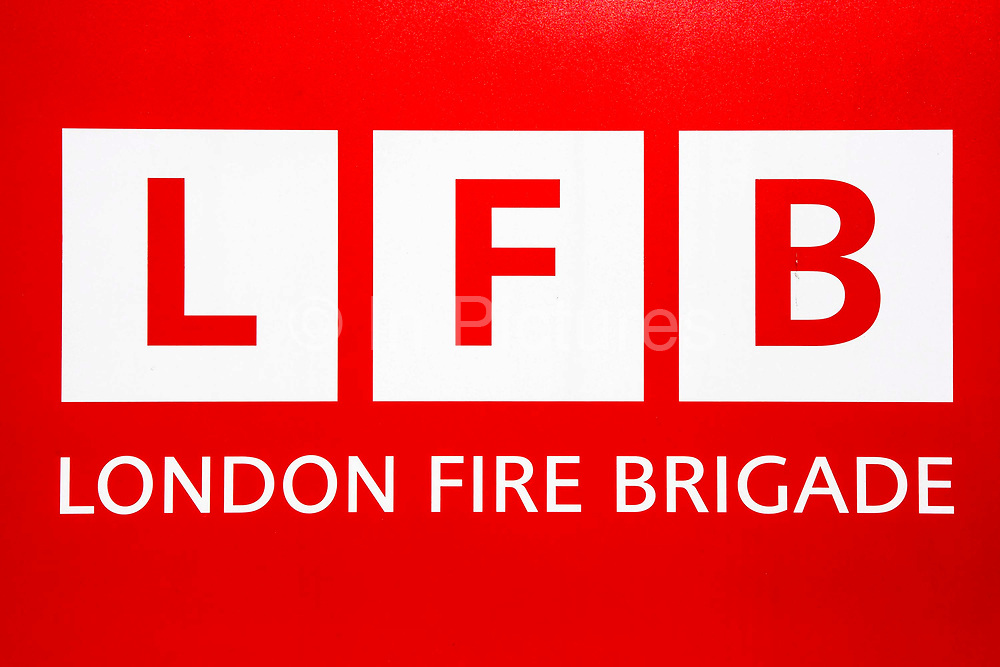 The London Fire brigade sign outside Walthamstow Fire Station. It was opened in 2012 after the London Fire Brigade spent 7.5 million pounds building it.