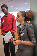 Purchase, NY – 31 October 2014. Port Chester High School team member Diamond Turner discussing the case study. The Business Skills Olympics was founded by the African American Men of Westchester, is sponsored and facilitated by Morgan Stanley, and is open to high school teams in Westchester County.