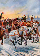 Napoleon retreating from Moscow, 1812. Of the 600,000 soldiers of his Grande Armee, only about 100,000 returned. Early 20th century book illustration.