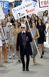 Gisele Bundchen, Karl Lagerfeld and models walk the runway during the Chanel show as part of the Paris Fashion Week Womenswear Spring/Summer 2015 at the Grand Palais in Paris, France on September 30, 2014. Photo by Alain Gil-Gonzalez/ABACAPRESS.COM