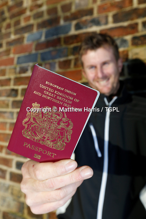 David LYNN (ENG) during at feature shoot at famous 'bottle ovens' of Gladstone Pottery Museum, 4th January 2013,Stoke On Trent,Staffordshire,England.Have passport and ready to travel on his new US adventure.