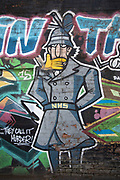 Inspector Gadget wearing an NHS belt street art graffiti in Digbeth on 24th April 2020 in Birmingham, United Kingdom. Digbeth is an area of Central Birmingham, England. Following the destruction of the Inner Ring Road, Digbeth is now considered a district within Birmingham City Centre. Coronavirus or Covid-19 is a new respiratory illness that has not previously been seen in humans. While much or Europe has been placed into lockdown, the UK government has put in place more stringent rules as part of their long term strategy, and in particular social distancing.