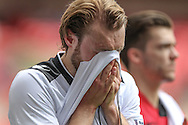Aaron Burch (Hereford FC) in tears after the game during the FA Vase match between Hereford and Morpeth Town at Wembley Stadium, London, England on 22 May 2016. Photo by Mark Doherty.