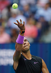 NEW YORK, Sept. 9, 2019  Rafael Nadal of Spain serves during the men's singles final match between Rafael Nadal of Spain and Daniil Medvedev of Russia at the 2019 US Open in New York, the United States, Sept. 8, 2019. (Credit Image: © Liu Jie/Xinhua via ZUMA Wire)