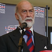 London,England,UK : 5th April 2016 : HRH Prince Michael of Kent officially opening the London Motor Show 2016 ,held in Battersea Evolution,in the heart of London Battersea Park. Photo by See Li