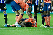 Yerry Mina of Everton goes down injured  during the EFL Cup match between Sheffield Wednesday and Everton at Hillsborough, Sheffield, England on 24 September 2019.