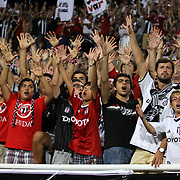 Besiktas's supporters during their Turkish Superleague soccer derby match Besiktas between Galatasaray at the Inonu Stadium at Dolmabahce in Istanbul Turkey on Thursday, 26 August 2012. Photo by TURKPIX