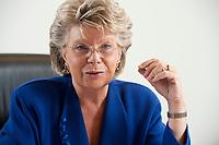 17 SEP 2010, BERLIN/GERMANY:<br /> Viviane Reding, EU-Kommissarin fuer Justiz, Grundrechte und Buergerschaft, waehrend einem Interview, Vertretung der Europaeischen Kommision in Berlin<br /> IMAGE: 20100917-01-004