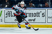 KELOWNA, BC - FEBRUARY 28: Matthew Wedman #20 of the Kelowna Rockets skates with the puck from behind the net against the Everett Silvertips at Prospera Place on February 28, 2020 in Kelowna, Canada. Wedman was selected in the 2019 NHL entry draft by the Florida Panthers.  (Photo by Marissa Baecker/Shoot the Breeze)
