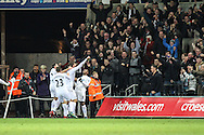 Fernando Llorente of Swansea City celebrates his teams fifth goal, 5-4, during the Premier League match between Swansea City and Crystal Palace at the Liberty Stadium, Swansea, Wales on 26 November 2016. Photo by Andrew Lewis.