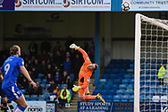 Carlisle United goalkeeper Jack Bonham (1) tips the ball over the bar during the The FA Cup match between Gillingham and Carlisle United at the MEMS Priestfield Stadium, Gillingham, England on 2 December 2017. Photo by Martin Cole.