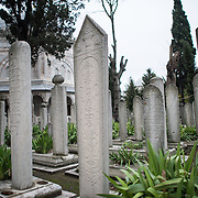 The tombs of Sultan Suleiman I, his wife Hürrem Sultan (Roxelana) and their daughter Mihrimah Sultan in the garden of Suleymaniye Mosque in Istanbul. Dedicated to Suleiman the Magnificent (or Suleiman I), the longest-reigning Ottoman Sultan (1520-1566), Süleymaniye Mosque stands prominently on Istanbul's Third Hill and is considered the city's most important mosque. It was completed in 1558.