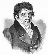 Ernst Florens Friedrich Chladni (1756-1827) German physicist. 19th century. [c1895]. Pioneer of acoustics who developed the technique where sand vibrated on a metal plate forms regular symmetrical patterns (Chladni's figures). Engraving.