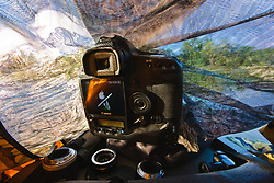Canon camera in floating blind, Trinity River Audubon Center, Dallas, Texas, USA.