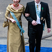 NLD/Amsterdam/20130430 - Inhuldiging Koning Willem - Alexander, Prins Carlos arriveert met zijn partner Annemarie Gaulthiere van Weezel