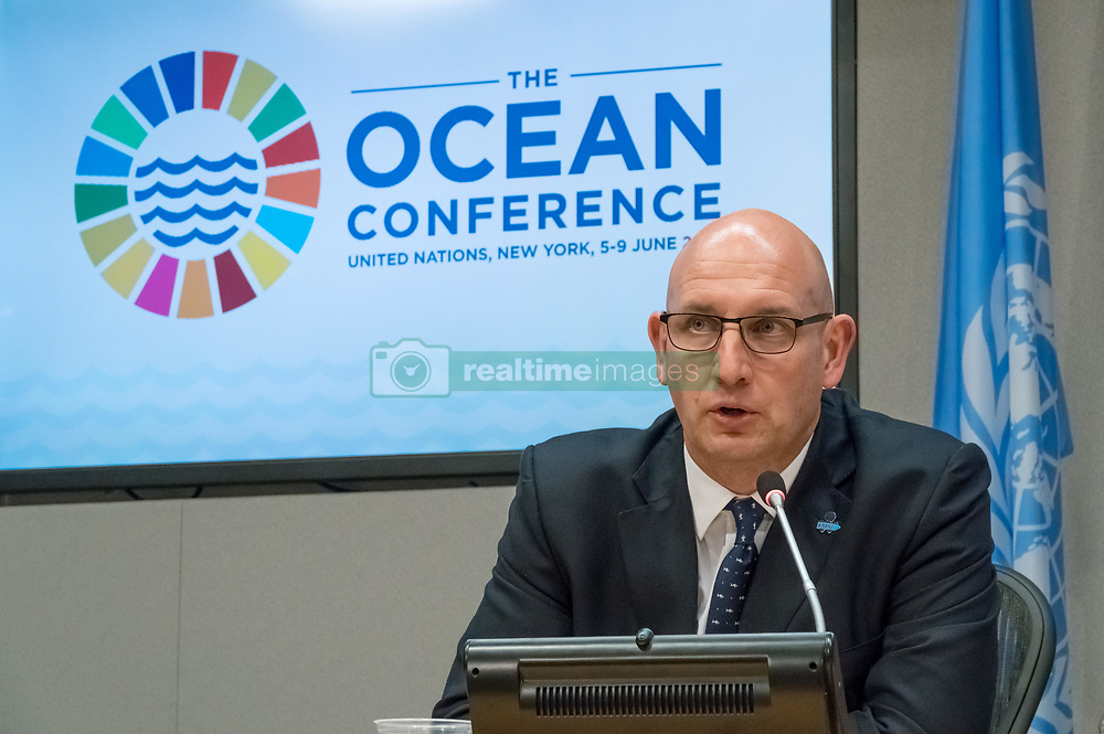 June 8, 2017 - New York, NY, United States - Anthony Long, Pew, Charitable, Trust, Milton Haughton, Caribbean, Regional, Fisheries, Mechanism, Dame, Meg Taylor, Secretary-General, Pacific, Island, Forum, Secretariat, Press, briefing, outcome, biodiversity, stability, conservation, agenda, climate, change, environment, ecology, Ocean, water, Sustainable Development Goals, conference, United Nations, UN, Headquarters, New York City, New York, NY, USA (Credit Image: © Albin Lohr-Jones/Pacific Press via ZUMA Wire)