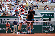John ISNER (USA) and Juan Martin DEL POTRO (ARG) had a laughing instant during the Roland Garros French Tennis Open 2018, day 9, on June 4, 2018, at the Roland Garros Stadium in Paris, France - Photo Stephane Allaman / ProSportsImages / DPPI