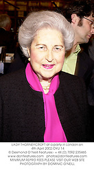 LADY THORNEYCROFT at a party in London on 4th April 2002.OYU 14