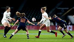 Amber Reed of England passes the ball - Mandatory by-line: Robbie Stephenson/JMP - 04/02/2017 - RUGBY - Twickenham - London, England - England v France - Women's Six Nations