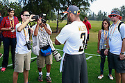 January 28 2016: Seattle Seahawks quarterback Russell Wilson always draws a crowd during the Pro Bowl practice at Turtle Bay Resort on North Shore Oahu, HI. (Photo by Aric Becker/Icon Sportswire)