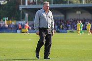 AFC Wimbledon manager Wally Downes walking off the pitch during the EFL Sky Bet League 1 match between AFC Wimbledon and Bristol Rovers at the Cherry Red Records Stadium, Kingston, England on 19 April 2019.